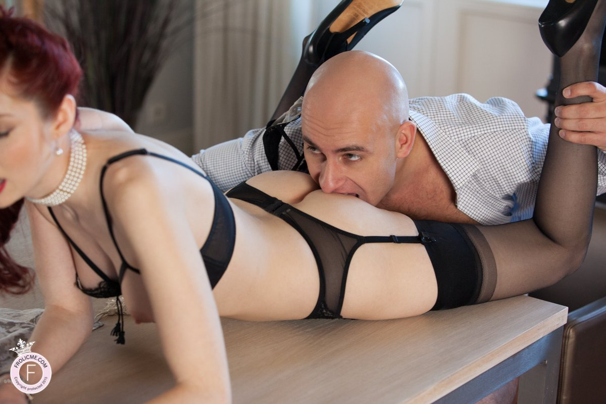 Husband bites his sexy wifes arse on dining table. ""