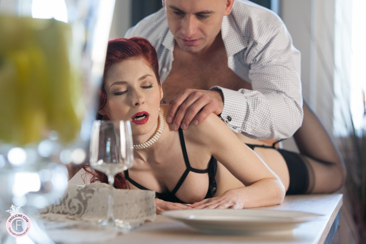 Sexy brunette has sex on dinning table