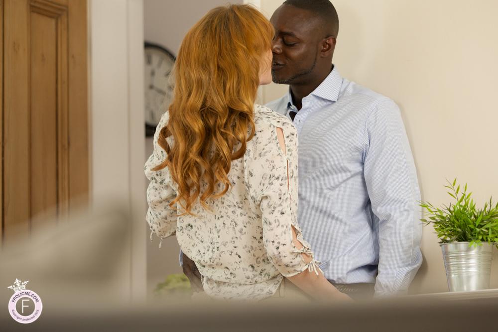 Redhead kisses her gorgeous black boyfriend
