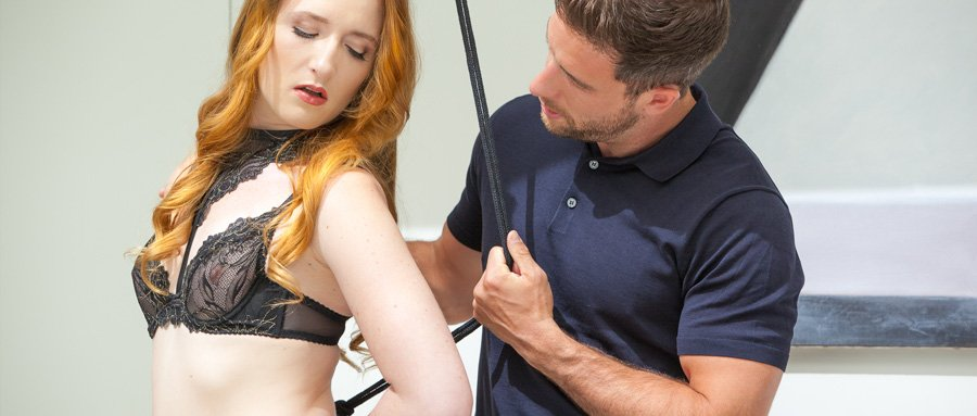 Kinky redhead restrained and fingered in kitchen