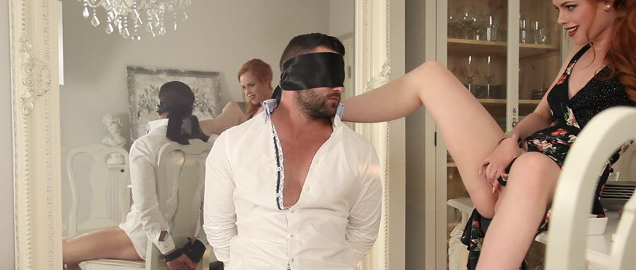 Man blindfolded, teased and restrained - Frolicme