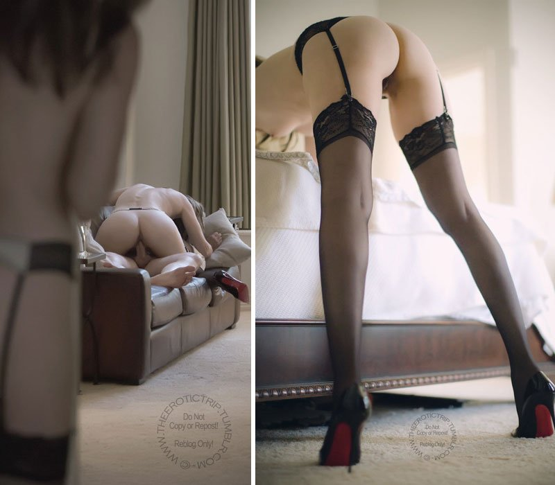 Erotic photo of a woman just in stockings and suspenders
