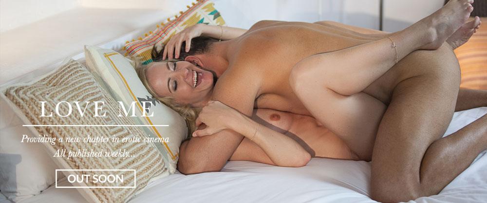 Naked loving couple make love on bed