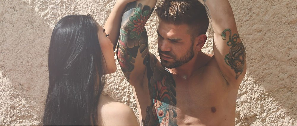 Sexy naked and bound man enjoys a naughty handjob tease