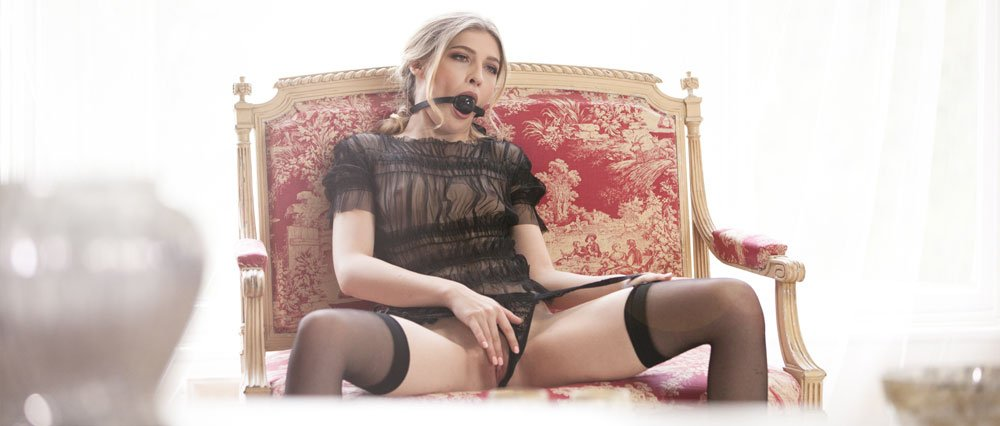 Ball gag wearing beautiful blonde plays before her lover