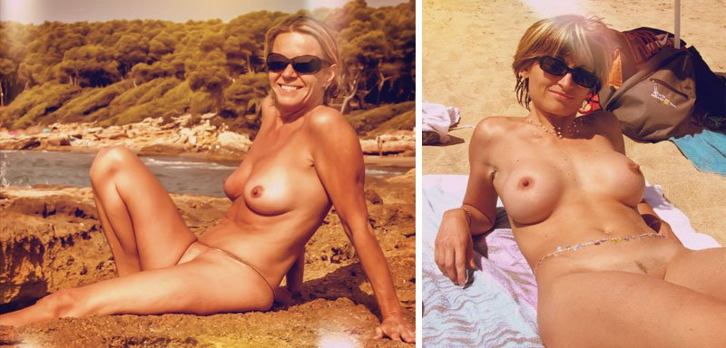 ladies lying on the beach nude sunbathing
